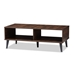 Baxton Studio Pierre Mid-Century Modern Brown and Dark Grey Finished Wood Coffee Table