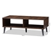 Baxton Studio Pierre Mid-Century Modern Brown and Dark Grey Finished Wood Coffee Table - SECFT3001-Columbia Brown/Dark Grey-CT