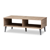 Baxton Studio Pierre Mid-Century Modern Oak and Light Grey Finished Wood Coffee Table