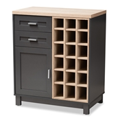 Baxton Studio Maxime Modern and Contemporary Grey and Light Oak Finished Wine Cabinet Furniture/Wine Cabinets/Cabinets/Wooden Wine Cabinets/Dark Brown Wine Cabinets