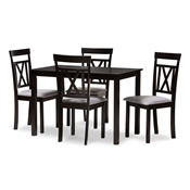 Baxton Studio Rosie Modern and Contemporary Espresso Brown Finished and Grey Fabric Upholstered 5-Piece Dining Set Baxton Studio restaurant furniture, hotel furniture, commercial furniture, wholesale dining furniture, wholesale dining set, classic dining set