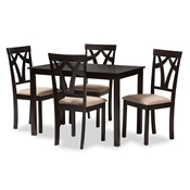 Baxton Studio Sylvia Modern and Contemporary Espresso Brown Finished and Sand Fabric Upholstered 5-Piece Dining Set Baxton Studio restaurant furniture, hotel furniture, commercial furniture, wholesale dining furniture, wholesale dining set, classic dining set