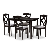 Baxton Studio Ruth Modern and Contemporary Espresso Brown Finished and Grey Fabric Upholstered 5-Piece Dining Set Baxton Studio restaurant furniture, hotel furniture, commercial furniture, wholesale dining furniture, wholesale dining set, classic dining set