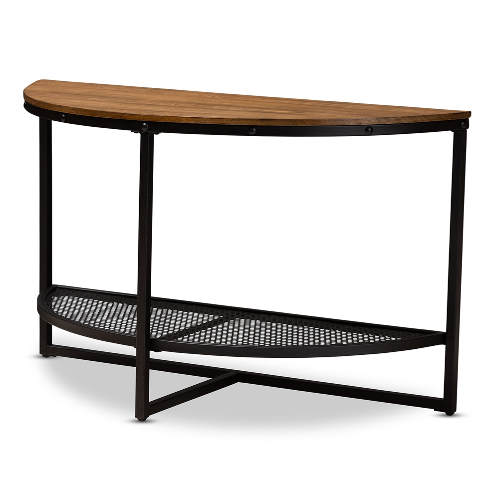 Baxton Studio Chesson Vintage Rustic Style Wood And Dark Bronze Finished Metal Half Moon