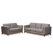 Baxton Studio Sava Mid-Century Modern Grey Fabric Upholstered Walnut Wood 2-Piece Living Room Set