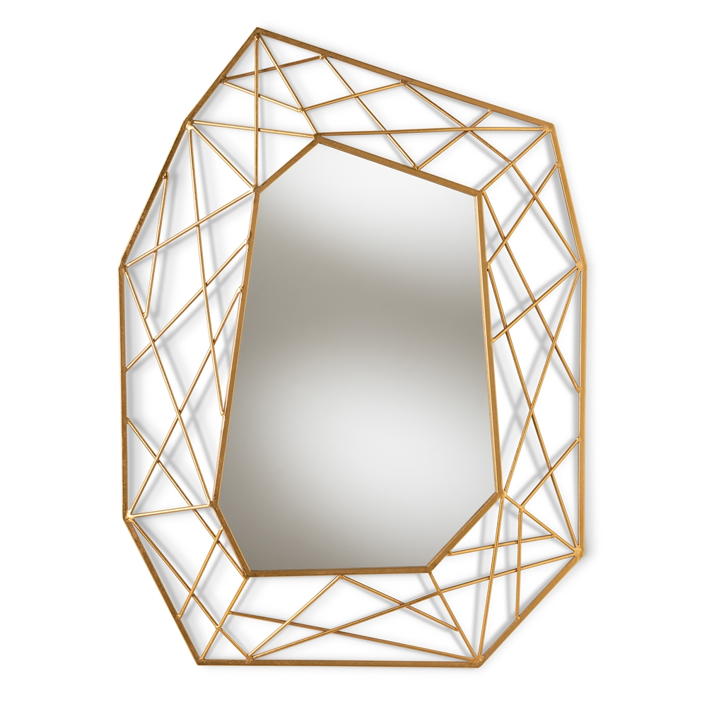 Baxton Studio Oriana Modern and Contemporary Antique Gold Finished Geometric Accent Wall Mirror