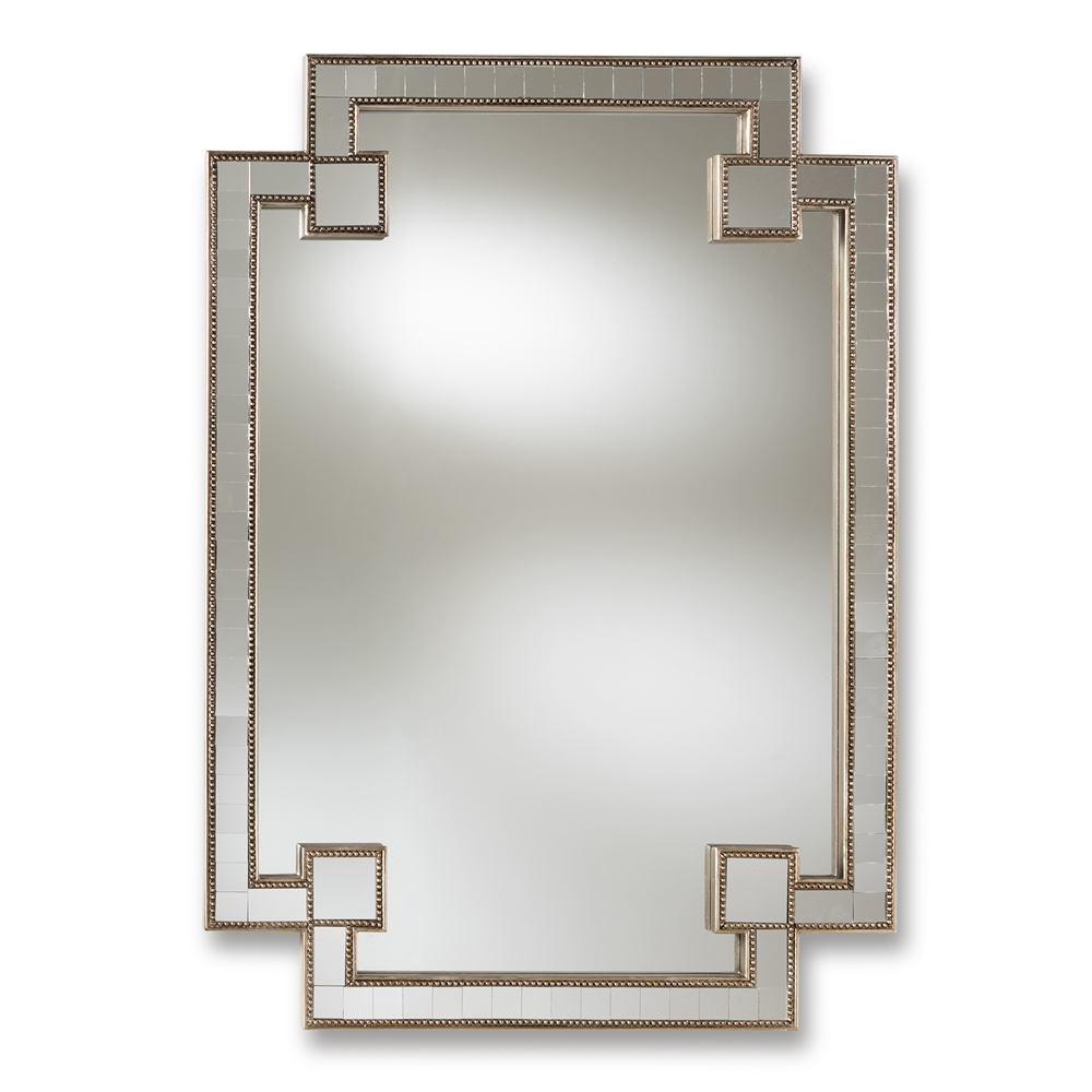 Baxton Studio Fiorella Modern and Contemporary Antique Silver Finished Studded Accent Wall Mirror
