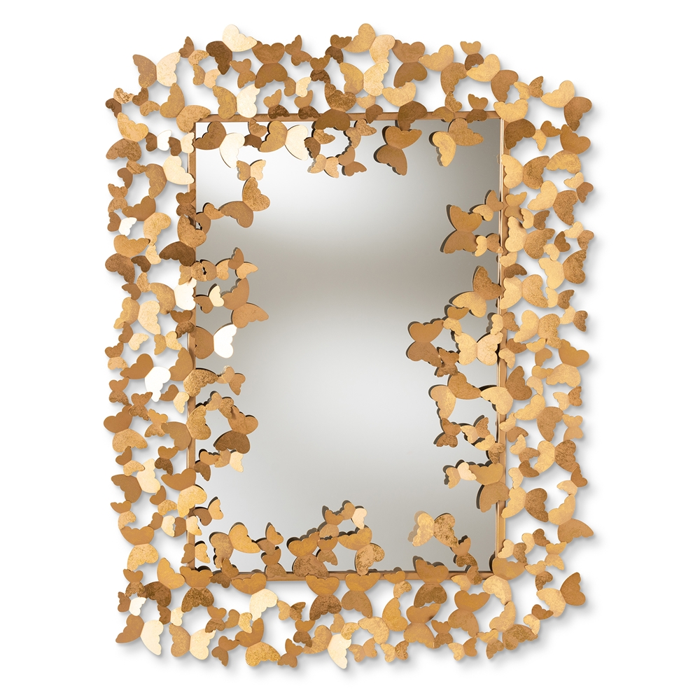 Baxton Studio Idalia Modern and Contemporary Antique Gold Finished Butterfly Accent Wall Mirror