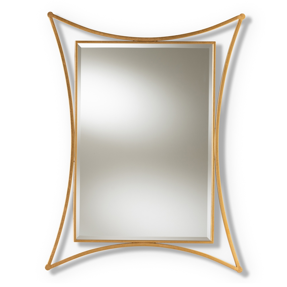 Baxton Studio Melia Modern and Contemporary Antique Gold Finished Rectangular Accent Wall Mirror