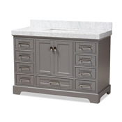 Baxton Studio Amaris 48-Inch Transitional Grey Finished Wood and Marble Single Sink Bathroom Vanity Baxton Studio restaurant furniture, hotel furniture, commercial furniture, wholesale bathroom furniture, wholesale vanities, classic vanities