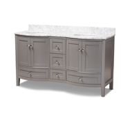 Baxton Studio Nicole 60-Inch Transitional Grey Finished Wood and Marble Double Sink Bathroom Vanity Baxton Studio restaurant furniture, hotel furniture, commercial furniture, wholesale bathroom furniture, wholesale vanities, classic vanities