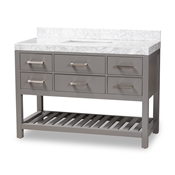 Baxton Studio Yolanda 48-Inch Modern and Contemporary Grey Finished Wood and Marble Single Sink Bathroom Vanity Baxton Studio restaurant furniture, hotel furniture, commercial furniture, wholesale bathroom furniture, wholesale vanities, classic vanities