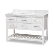 Baxton Studio Yolanda 48-Inch Modern and Contemporary White Finished Wood and Marble Single Sink Bathroom Vanity Baxton Studio restaurant furniture, hotel furniture, commercial furniture, wholesale bathroom furniture, wholesale vanities, classic vanities