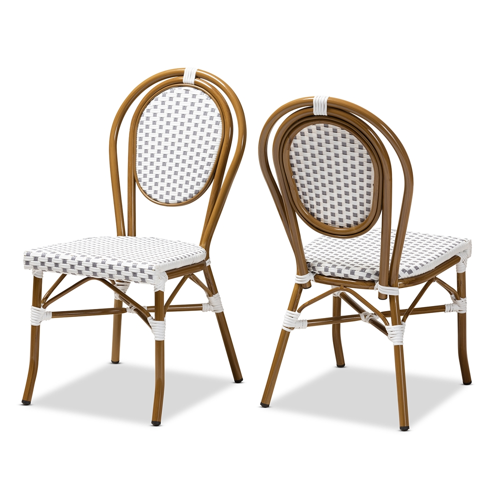 Baxton Studio Gauthier Classic French Indoor and Outdoor Grey and White Bamboo Style Stackable Bistro Dining Chair Set of 2
