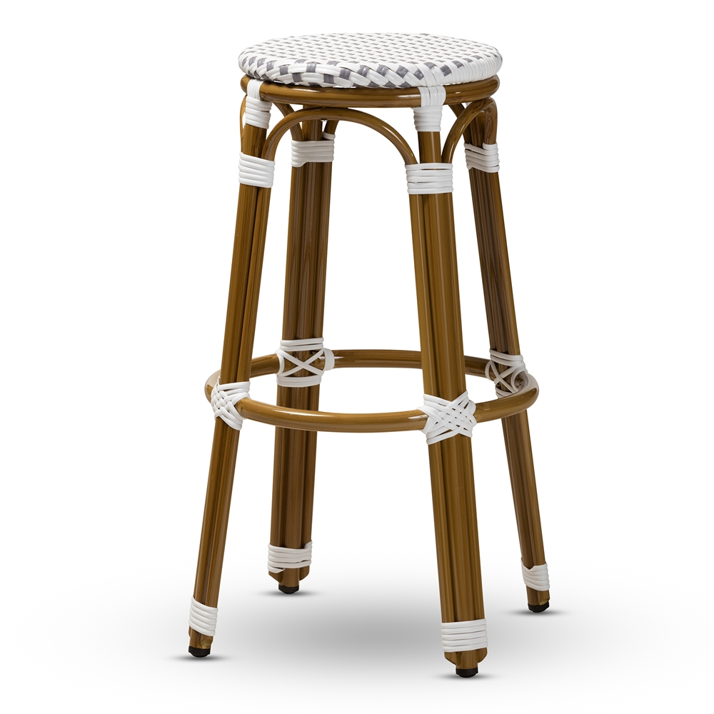 Baxton Studio Joelle Classic French Indoor and Outdoor Grey and White Bamboo Style Stackable Bistro Bar Stool
