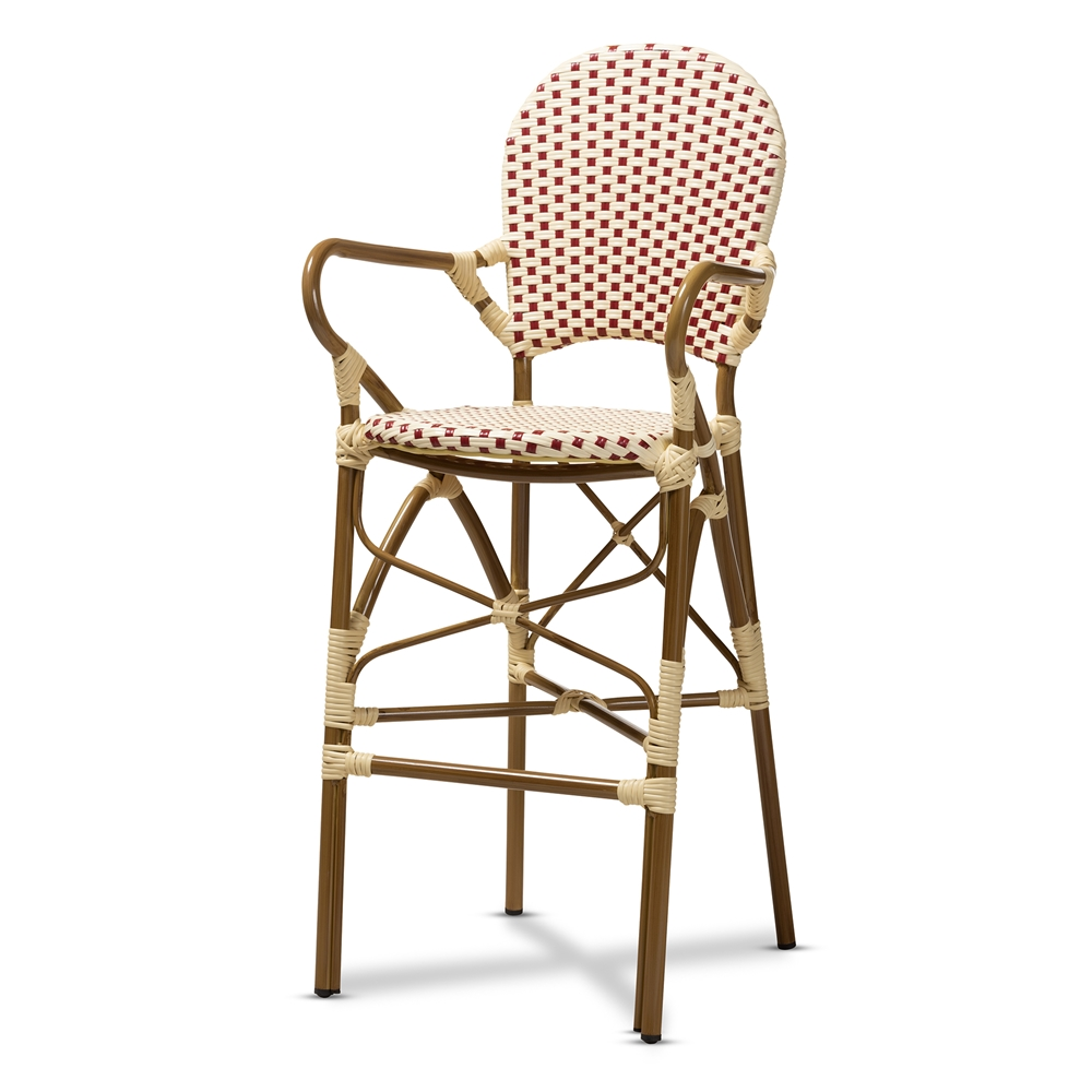 Baxton Studio Marguerite Classic French Indoor and Outdoor Beige and Red Bamboo Style Stackable Bistro Bar Stool