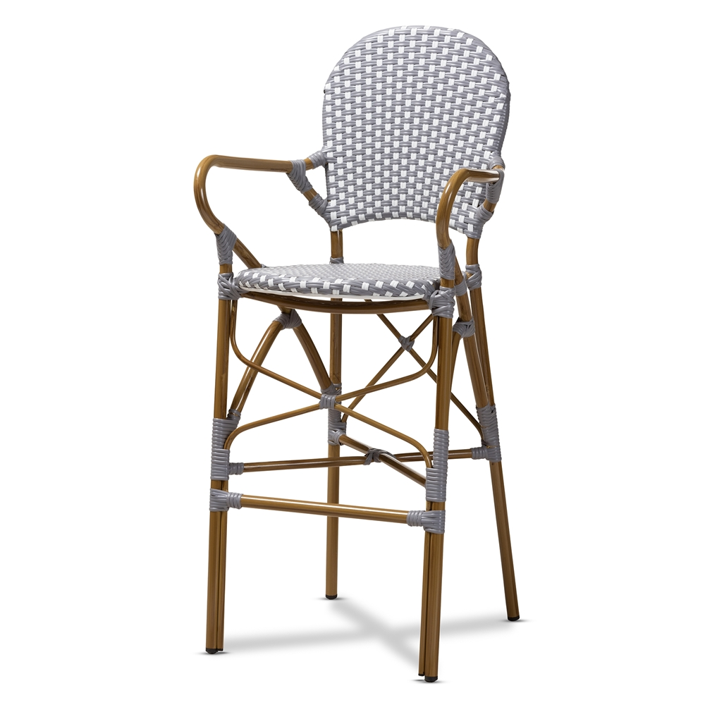 Baxton Studio Marguerite Classic French Indoor and Outdoor Grey and White Bamboo Style Bistro Stackable Bar Stool