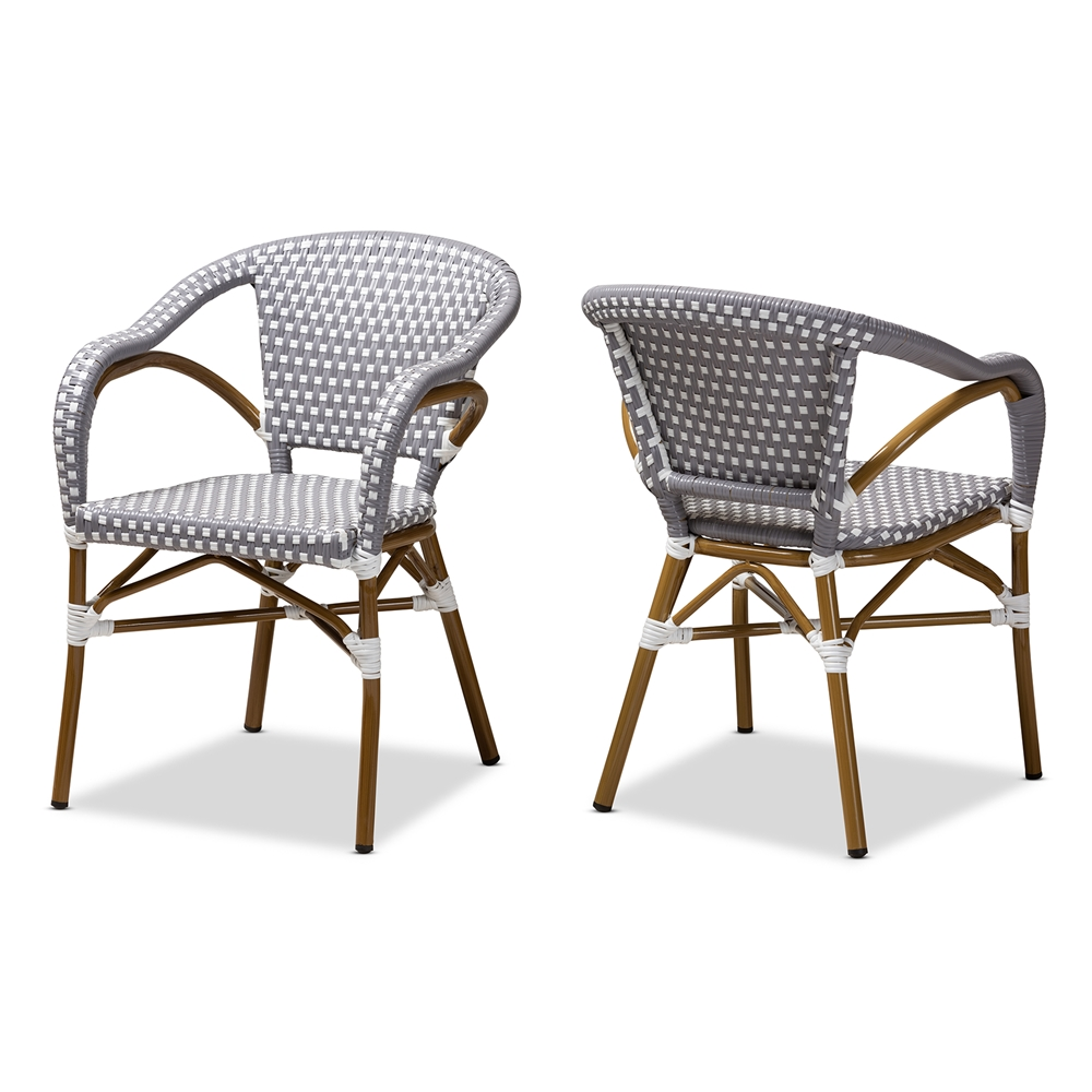 Baxton Studio Eliane Classic French Indoor and Outdoor Grey and White Bamboo Style Stackable Bistro Dining Chair Set of 2g