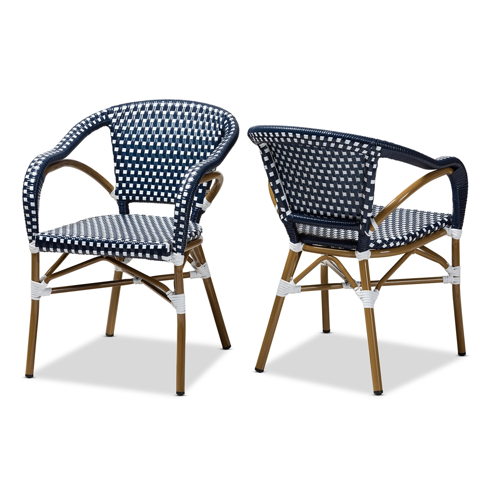 Baxton Studio Eliane Classic French Indoor and Outdoor Navy and White Bamboo Style Stackable Bistro Dining Chair Set of 2