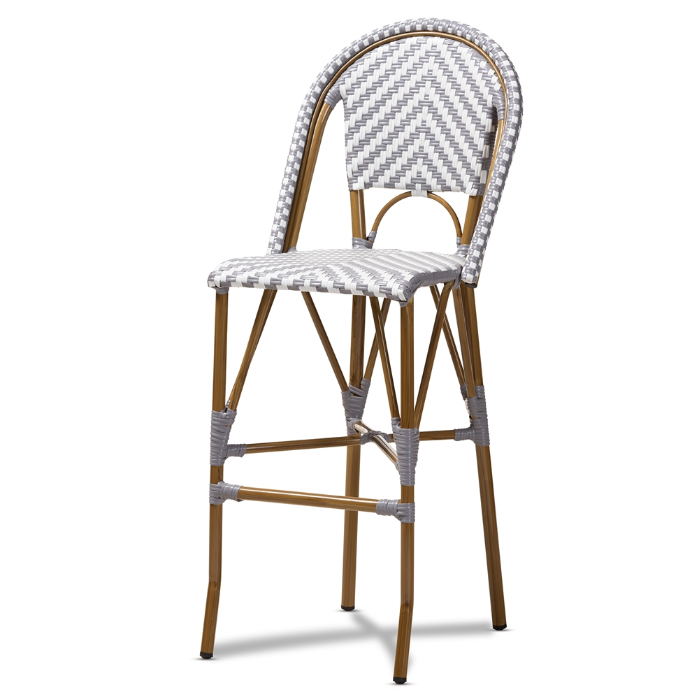 Baxton Studio Ilene Classic French Indoor and Outdoor Grey and White Bamboo Style Stackable Bistro Bar Stool