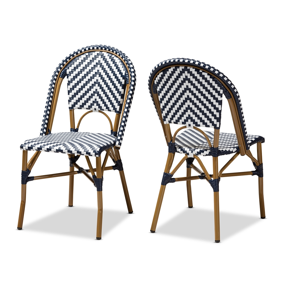 Baxton Studio Celie Classic French Indoor and Outdoor Blue and White Bamboo Style Stackable Bistro Dining Chair Set of 2