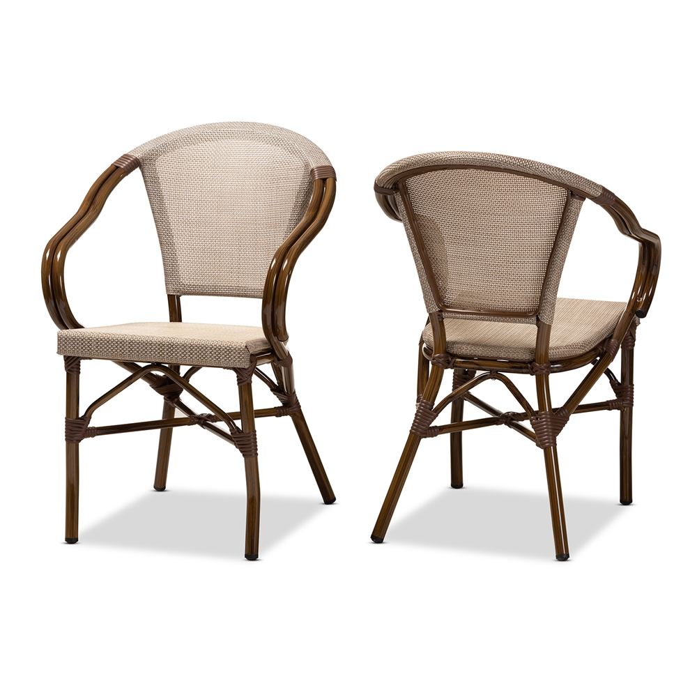 Baxton Studio Artus Classic French Indoor and Outdoor Grey Bamboo Style Stackable Bistro Dining Chair Set of 2