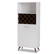 Baxton Studio Serafino Mid-Century Modern White and Walnut Finished Wood Wine Cabinet Baxton Studio restaurant furniture, hotel furniture, commercial furniture, wholesale dining room furniture, wholesale cabinet, classic wine cabinets