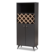 Baxton Studio Serafino Mid-Century Modern Dark Grey and Oak Finished Wood Wine Cabinet Baxton Studio restaurant furniture, hotel furniture, commercial furniture, wholesale dining room furniture, wholesale cabinet, classic wine cabinets
