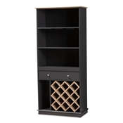 Baxton Studio Mattia Modern and Contemporary Dark Grey and Oak Finished Wood Wine Cabinet Baxton Studio restaurant furniture, hotel furniture, commercial furniture, wholesale dining room furniture, wholesale cabinet, classic wine cabinets