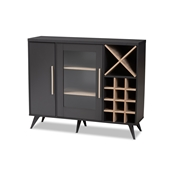 Baxton Studio Pietro Mid-Century Modern Dark Grey and Oak Finished Wine Cabinet Baxton Studio restaurant furniture, hotel furniture, commercial furniture, wholesale dining room furniture, wholesale cabinet, classic wine cabinets