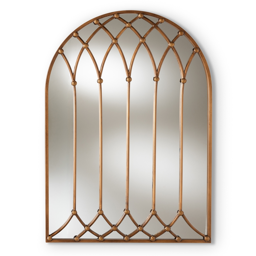 Baxton Studio Freja Vintage Farmhouse Antique Bronze Finished Arched Window Accent Wall Mirror