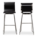 Baxton Studio Giorgio Modern and Contemporary Black Faux Leather Upholstered Chrome-Finished Steel Counter Stools Set of 2 - T-5071-Black-BS
