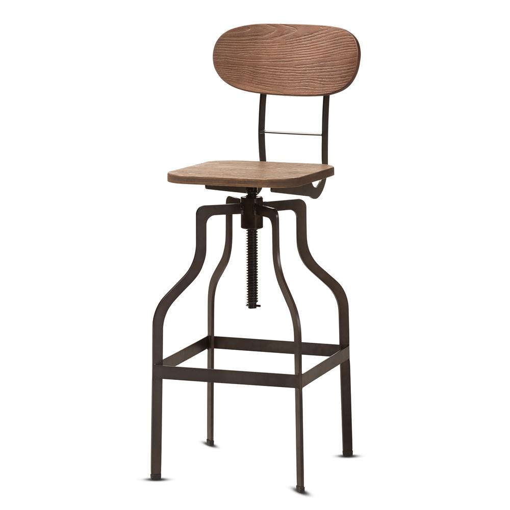 Baxton Studio Varek Vintage Rustic Industrial Style Wood and Rust-Finished Steel Adjustable Swivel Bar Stool