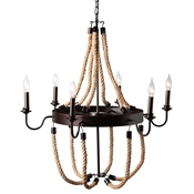 Baxton Studio Cassia Vintage Industrial Antique Style Hemp and Dark Bronze Metal 6 Light Chandelier Baxton Studio restaurant furniture, hotel furniture, commercial furniture, wholesale living room furniture, wholesale Ceiling Lamps, classic Ceiling Lamps
