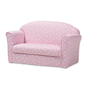 Baxton Studio Erica Modern and Contemporary Pink and White Heart Patterned Fabric Upholstered Kids 2-Seater Sofa