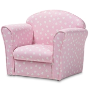 Baxton Studio Erica Modern and Contemporary Pink and White Heart Patterned Fabric Upholstered Kids Armchair