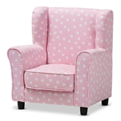 Baxton Studio Selina Modern and Contemporary Pink and White Heart Patterned Fabric Upholstered Kids Armchair