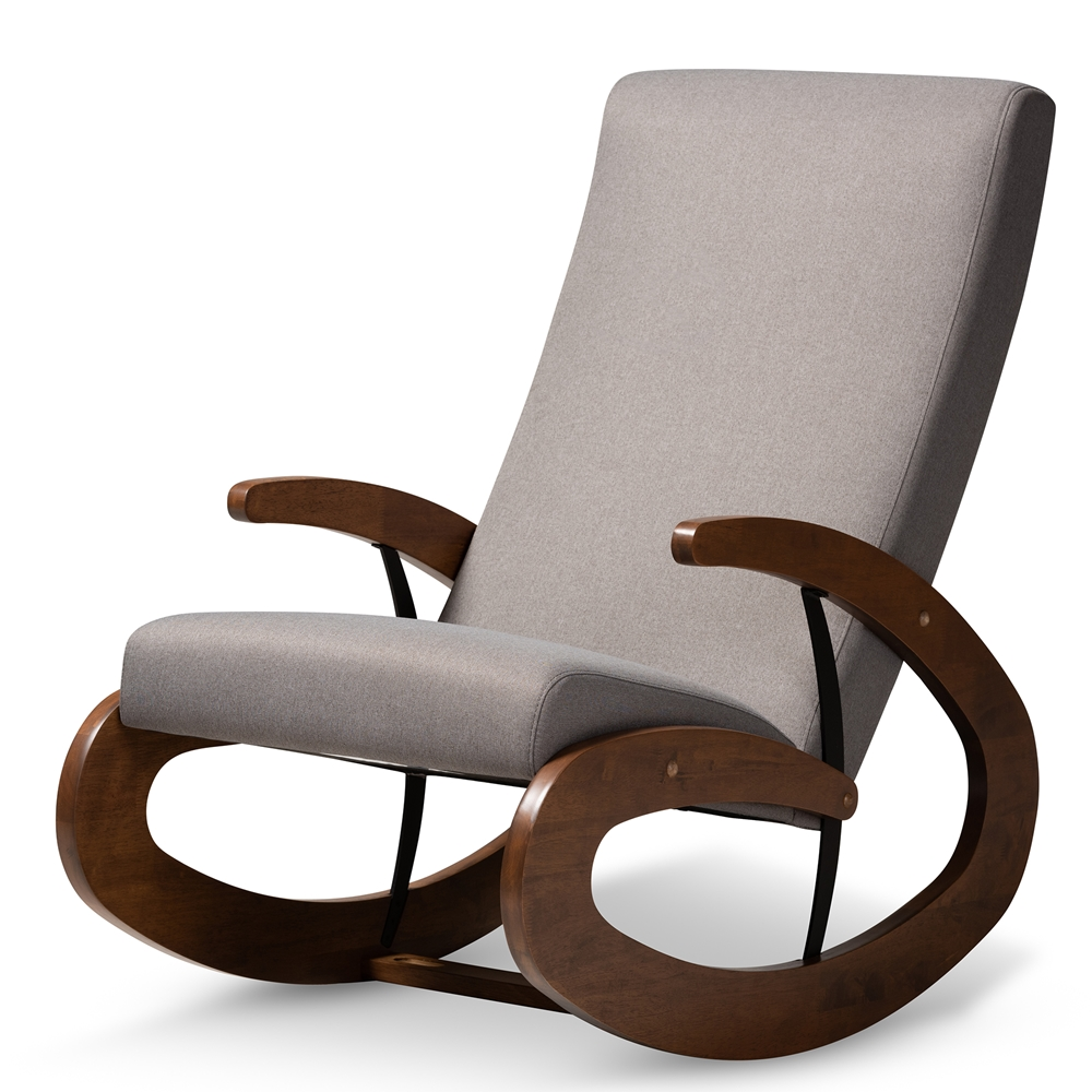 Baxton Studio Kaira Modern and Contemporary Gray Fabric Upholstered and Walnut-Finished Wood Rocking Chair