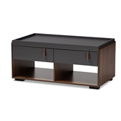Baxton Studio Rikke Modern and Contemporary Two-Tone Gray and Walnut Finished Wood 2-Drawer Coffee Table