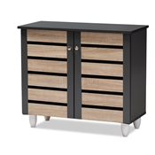 Baxton Studio Gisela Modern and Contemporary Two-Tone Oak and Dark Gray 2-Door Shoe Storage Cabinet Baxton Studio restaurant furniture, hotel furniture, commercial furniture, wholesale entryway furniture, wholesale cabinet, classic shoe cabinets