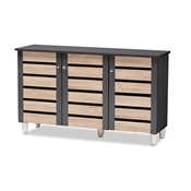 Baxton Studio Gisela Modern and Contemporary Two-Tone Oak and Dark Gray 3-Door Shoe Storage Cabinet Baxton Studio restaurant furniture, hotel furniture, commercial furniture, wholesale entryway furniture, wholesale cabinet, classic shoe cabinets
