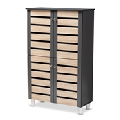 Baxton Studio Gisela Modern and Contemporary Two-Tone Oak and Dark Gray 4-Door Shoe Storage Cabinet