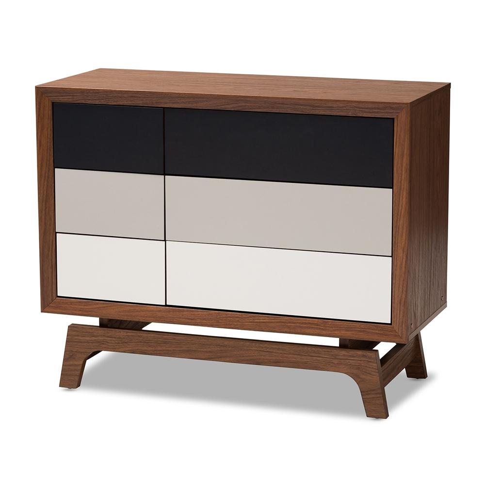 Baxton Studio Svante Mid-Century Modern Multicolor Finished Wood 6-Drawer Chest