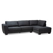 Baxton Studio Petra Modern and Contemporary Charcoal Fabric Upholstered Right Facing Sectional Sofa