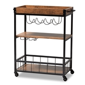 Baxton Studio Cerne Vintage Rustic Industrial Oak Brown and Black Finished Mobile Metal Bar Cart with Wine Bottle Rack Baxton Studio restaurant furniture, hotel furniture, commercial furniture, wholesale dining room furniture, wholesale wine cabinets classic wine cabinets