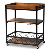 Baxton Studio Capri Vintage Rustic Industrial Oak Brown and Black Finished Mobile Metal Bar Cart with Stemware Rack Baxton Studio restaurant furniture, hotel furniture, commercial furniture, wholesale dining room furniture, wholesale wine cabinets classic wine cabinets