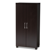 Baxton Studio Marine Modern and Contemporary Wenge Dark Brown Finished 2-Door Wood Entryway Shoe Storage Cabinet