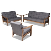 Baxton Studio Larsen Mid-Century Modern Gray Fabric Upholstered Walnut Wood 3-Piece Living Room Set