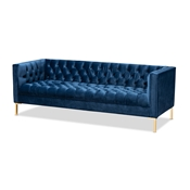 Baxton Studio Zanetta Glam and Luxe Navy Velvet Upholstered Gold Finished Sofa