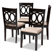 Baxton Studio Lenoir Modern and Contemporary Sand Fabric Upholstered Espresso Brown Finished Wood Dining Chair Set of 4 Baxton Studio restaurant furniture, hotel furniture, commercial furniture, wholesale dining room furniture, wholesale dining chairs, classic dining chairs